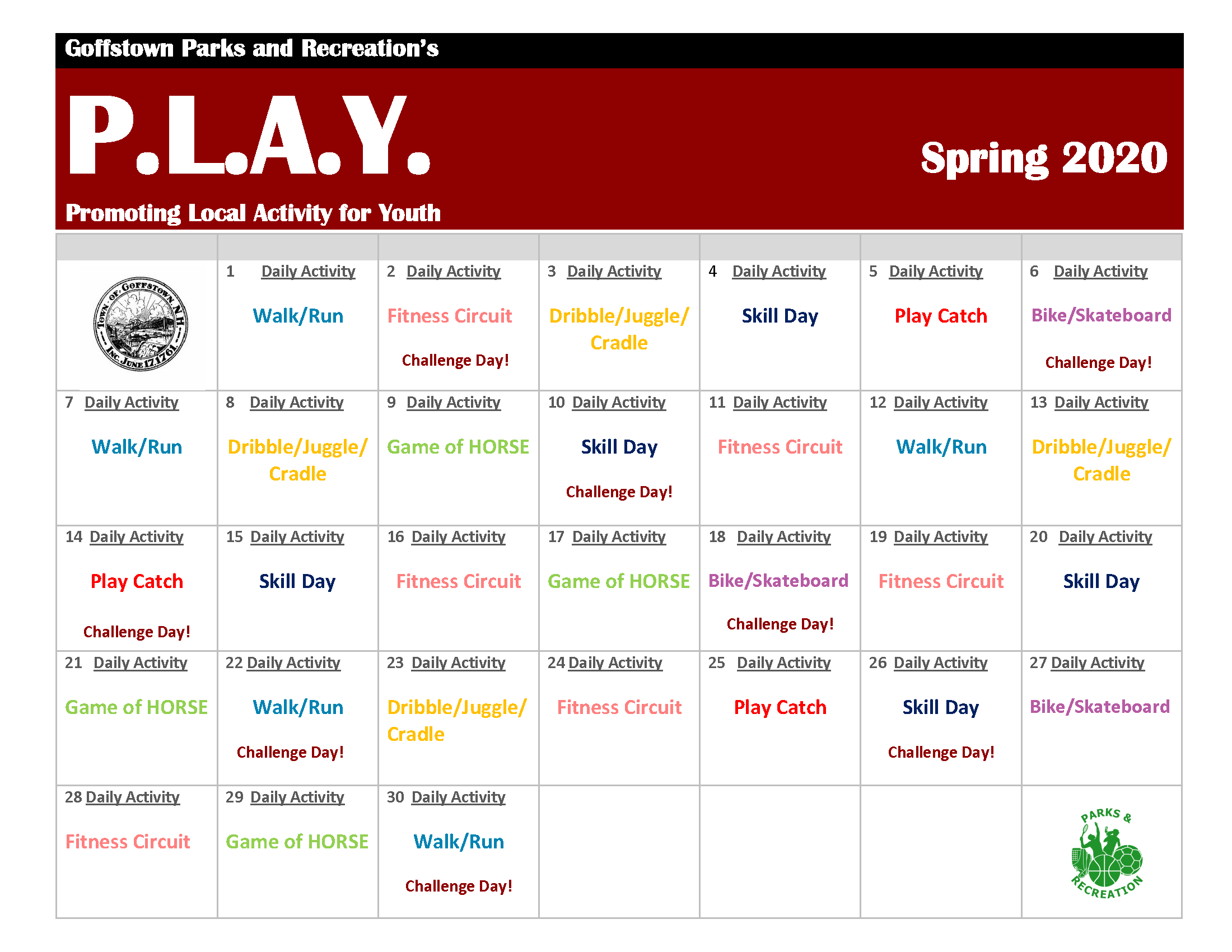 PLAY Calendar Page 1